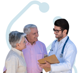 Mesothelioma specialist speaking with a patient and his wife